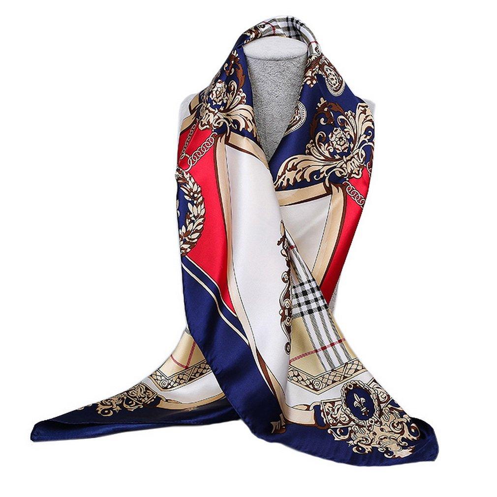 YiyiLai Rétro Foulard Femme Imitation de Soie Echarpe Carrée 90   90cm  Bandana Cheveux Mode YYLWJA117 3c0754776da