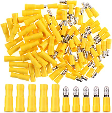 100Pcs 10-12AWG Heat Shrink Bullet Terminals Female Male//Female Wire Connectors