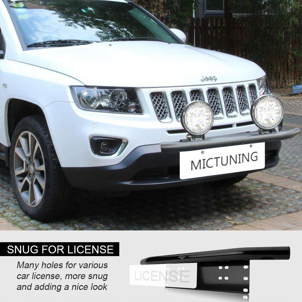MICTUNING Heavy Duty Front Bumper License Plate Mounting Braket with 60W LED Spot Light Universal for Car Work Driving Light