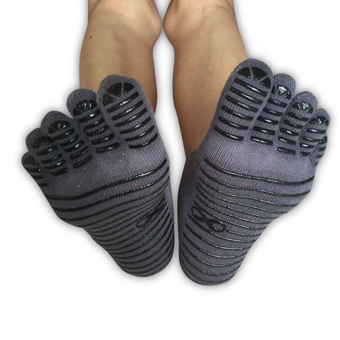 for Women /& Men 1 /& 3 Pairs Set Dance Anti Non Slip Skid -S//M Black-Pink Lines Black-Green Lines White Pilates Full Toe Socks with Grips YogaAddict Yoga Barre