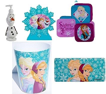 Exceptionnel Disney Frozen Bathroom 5 Piece Bundle Trashcan, Soap Dispenser, Toothbrush  Holder, Set Washcloths