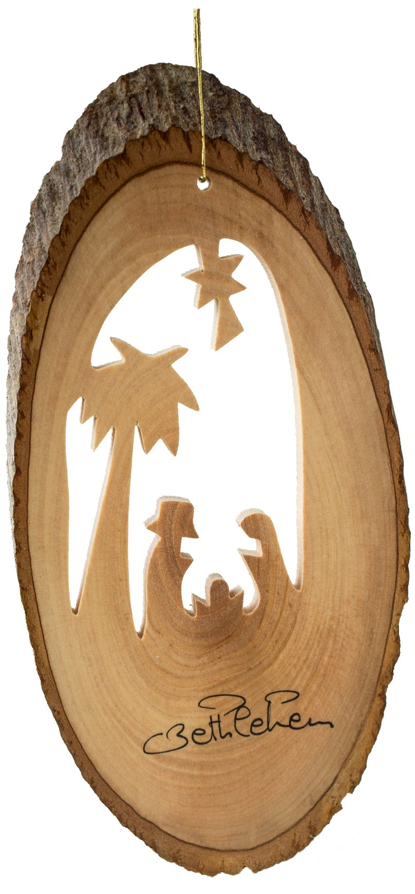 Earthwood Olive Wood Nativity with Palm Ornament