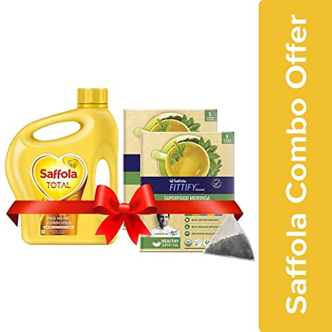 Saffola Total Pro Heart Conscious Edible Oil, 2 L Jar with Free Saffola FITTIFY Gourmet Superfood Moringa Green Tea, Assorted Pack (5 Sachets)