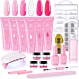 Makartt Poly Nail Extension Gel Kit, Pink Nail Enhancement Builder Gel with Slip Solution and LED Mini Nail Lamp All-in…