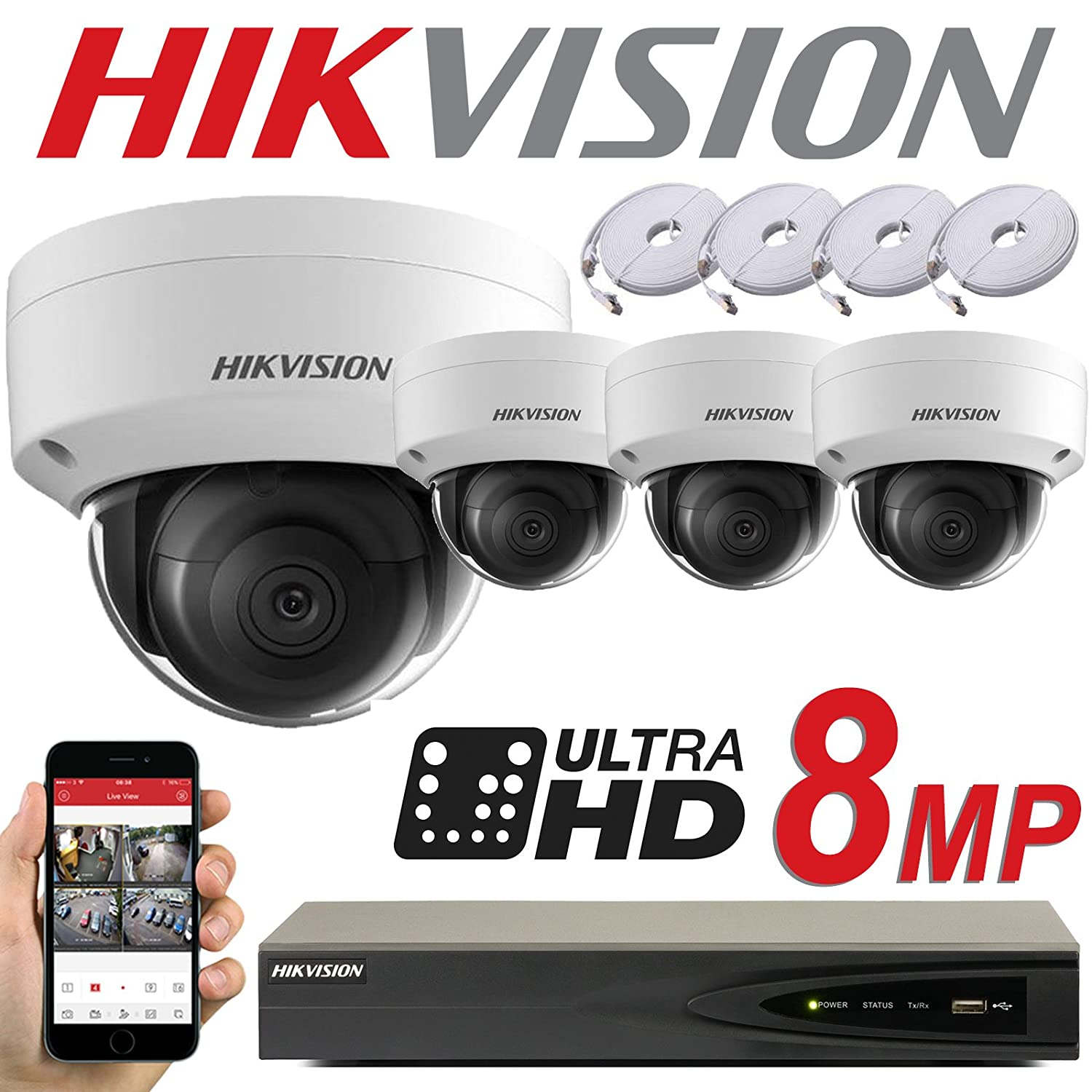 HIKVISION 8MP SYSTEM 4CH CHANNEL NVR IP POE 8 MP MEGAPIXEL CCTV 2 8MM DOME  CAMERA DIGITAL NETWORK KIT TRADE INDOOR OUTDOOR NIGHT VISION TRADE UK