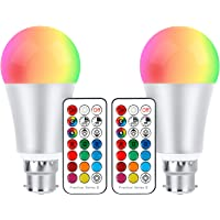 ChangM Colour Changing Led Light Bulb 10W, RGB + Warm White Colour Bulbs Dimmable with IR Remote Control, RGB Bayonet Light Bulb, Updated Warm White 2700K, Disco Party Home Mood Lighting, Pack of 2