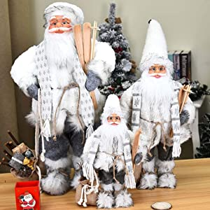 LHOTSE 24Inch Standing Santa Claus Wearing A Scarf Plush Doll Christmas Figurine Figure Decoration Holiday Present Home Ornaments,Grey and White (18inch)