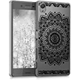 kwmobile Crystal Case for Sony Xperia X with Design flower - transparent Protection Case Cover clear in black transparent