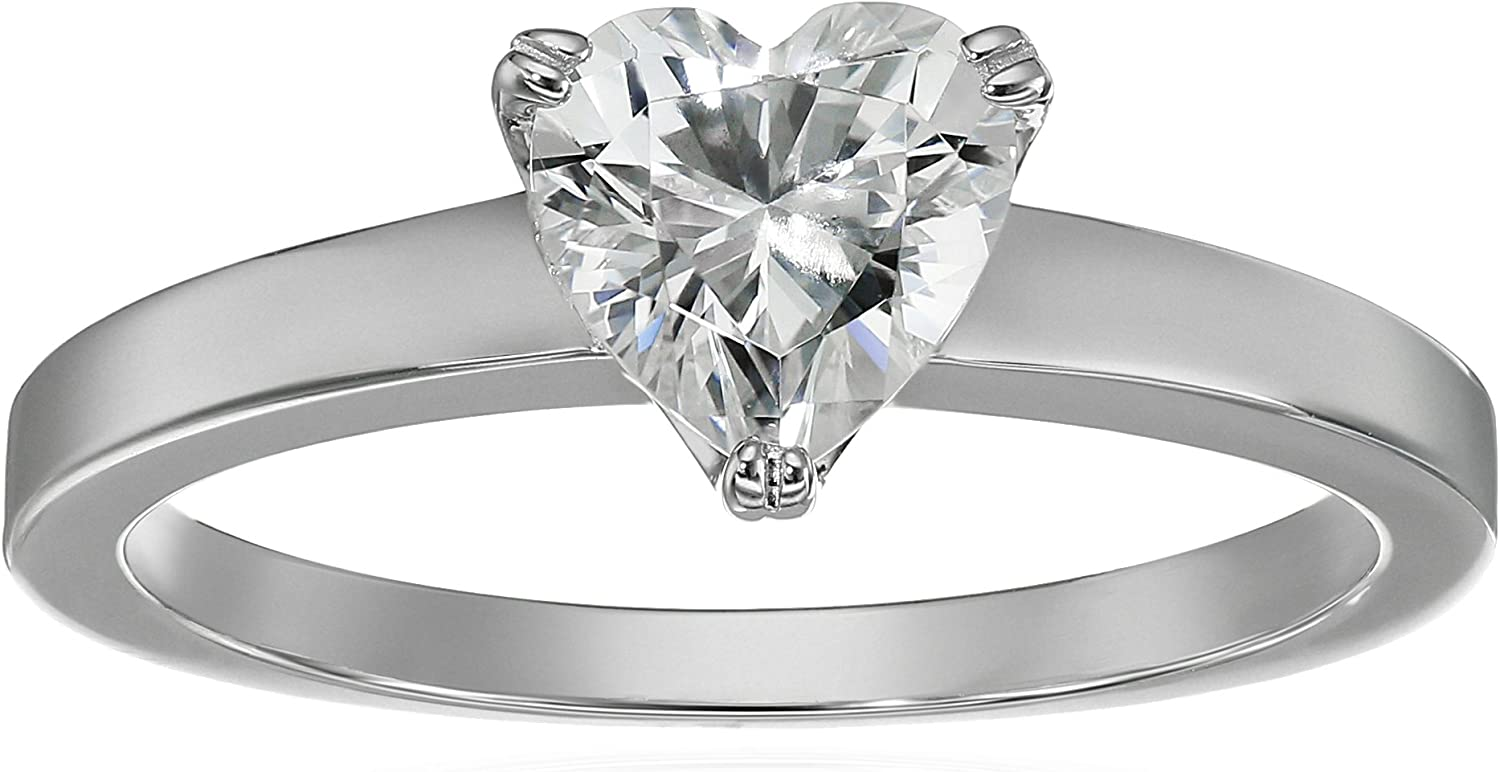Platinum or Gold Plated Sterling Silver Fancy Shape Solitaire Ring...