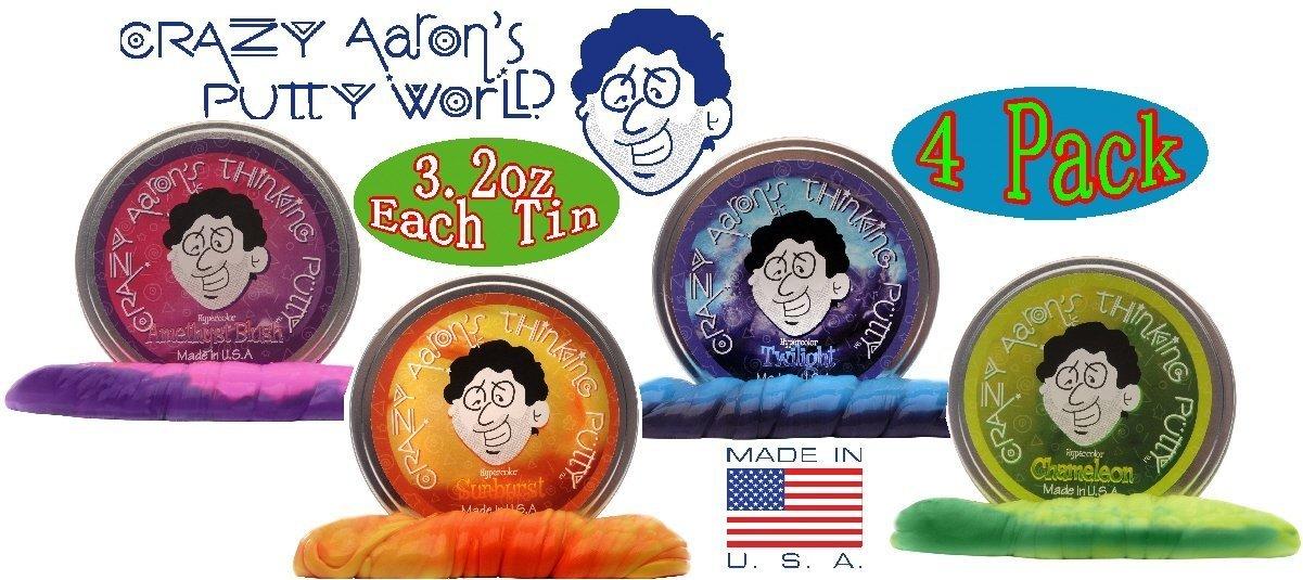 Crazy Aaron's Thinking Putty Heat Sensitive Hypercolors Amethyst Blush, Twilight, Chameleon & Sunburst Gift Set Bundle - 4 Pack by Crazy Aaron's (Image #1)