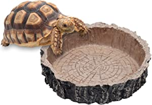 Reptile Water Bowl Reptile Food Dish Resin Pets Feeding Plate for Tortoise Lizard Bearded Dragon Frog Leopard Gecko Snake Chameleon