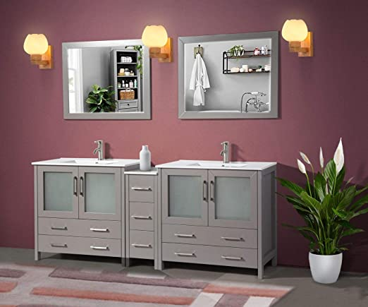 Amazon Com Vanity Art 84 Inch Double Sink Modern Bathroom Vanity