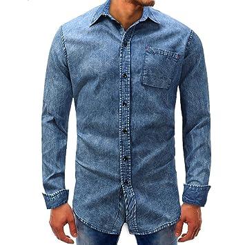 Hombre camisa manga larga Otoño,Sonnena ❤ Camisa manga larga hombre Denim Beefy Button Basic Solid Blouse Camiseta Top: Amazon.es: Hogar