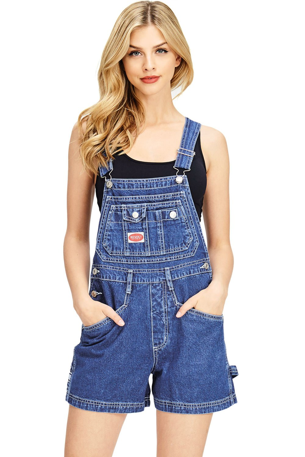 Revolt Women's Juniors Classic Twill Short Overalls (L, Dark Stone)