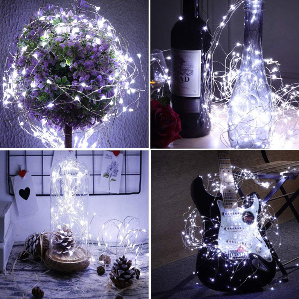 Warm White Included ,20 LED Starry Fairy Lights,6.6FT//2M Silver Wire,LED Firefly Lights for DIY Wedding Centerpiece,Christmas,Table,Party Decoration SunKite 12 Pack LED String Lights Battery Powered