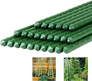 Newtion 4FT 25PCS Steel Core & Plastic Coated Garden Stakes Sturdy Plant Metal Sticks Supporter Plastic Coated for Tomato Cucumber Strawberry Bean Tree