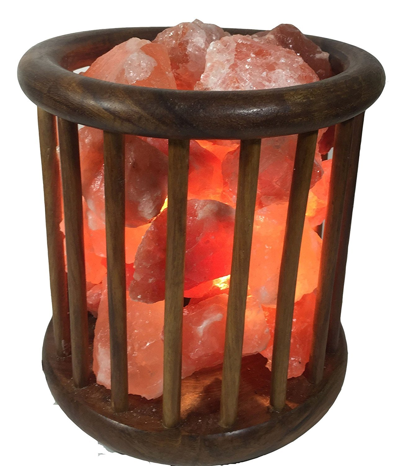 KHEWRA : Natural Crystal Air Purifying Wood Basket Himalayan Salt Lamp with Pure Salt Chunks with UL-approved Cord and 15-Watt Light Bulb
