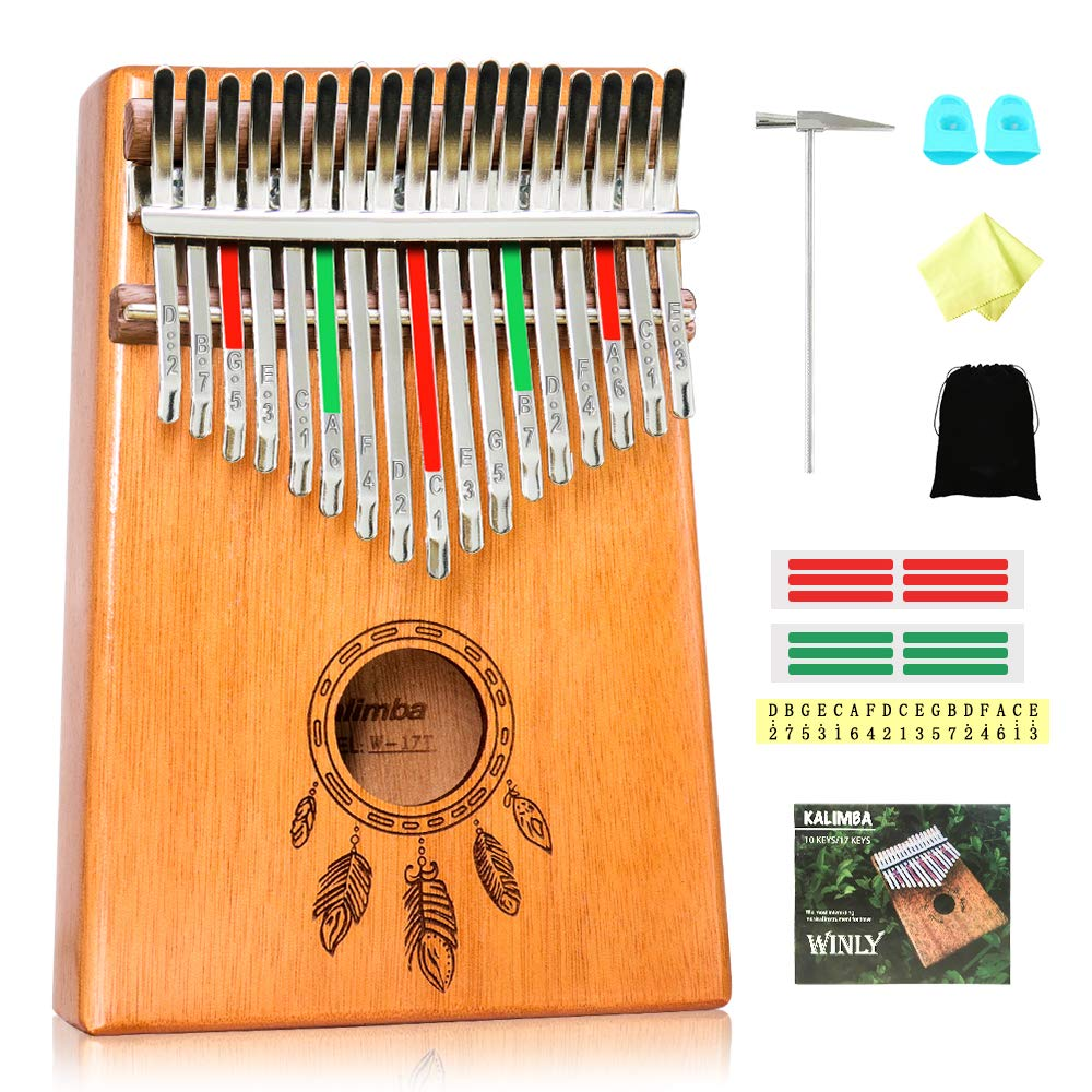 Kalimba 17 Keys Thumb Piano, Solid Wood Finger Piano with Portable Bag, Study Instruction, and Tuning Hammer, African Musical Instruments Mbira Carved with Feathers, Best Gift for Beginners Kids Adult