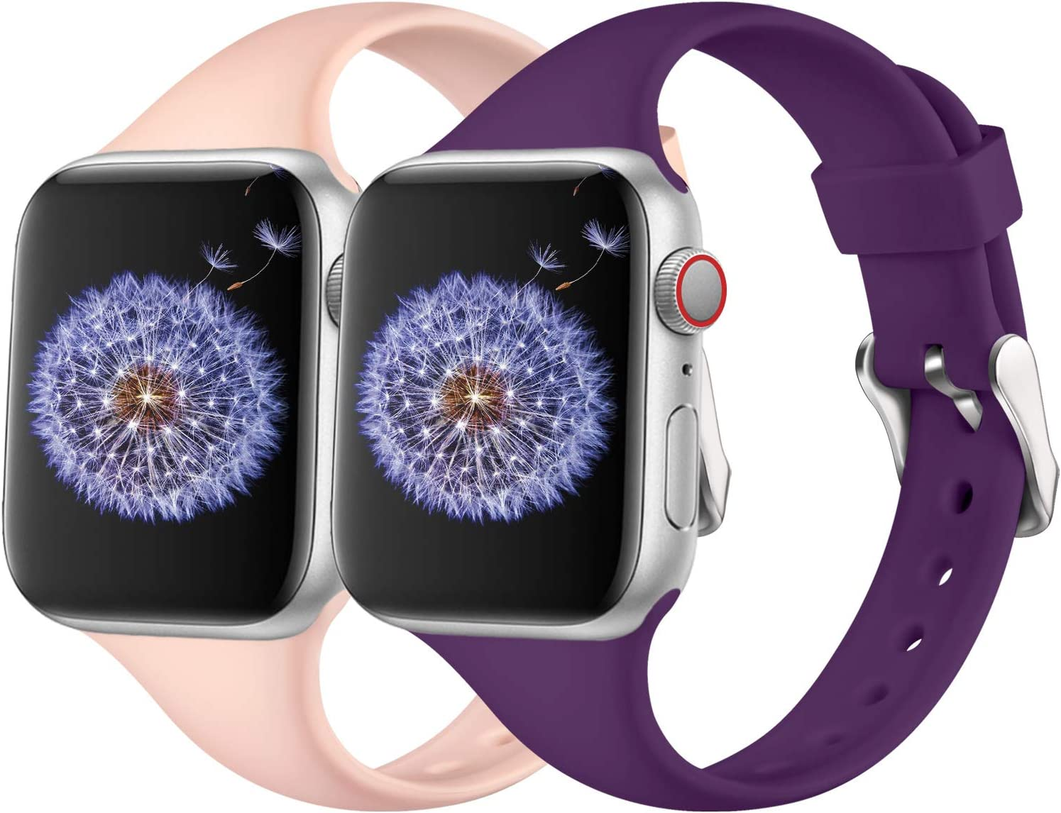 DGege Slim Watch Bands Compatible with Apple Watch 38mm 40mm, Silicone Thinner Bands for iwatch Series 6, 5,4,3,2,1 SE, Purple/Pink, S/M