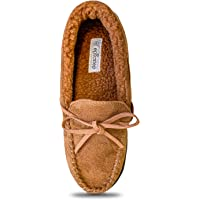 Women Moccasin Slippers Warm Comfort Cozy Soft House Shoes with Fuzzy Plush Fur Lining Casual Slip On Shoe Slipper with Indoor Outdoor Resistant Anti-Skid Rubber Sole Brown