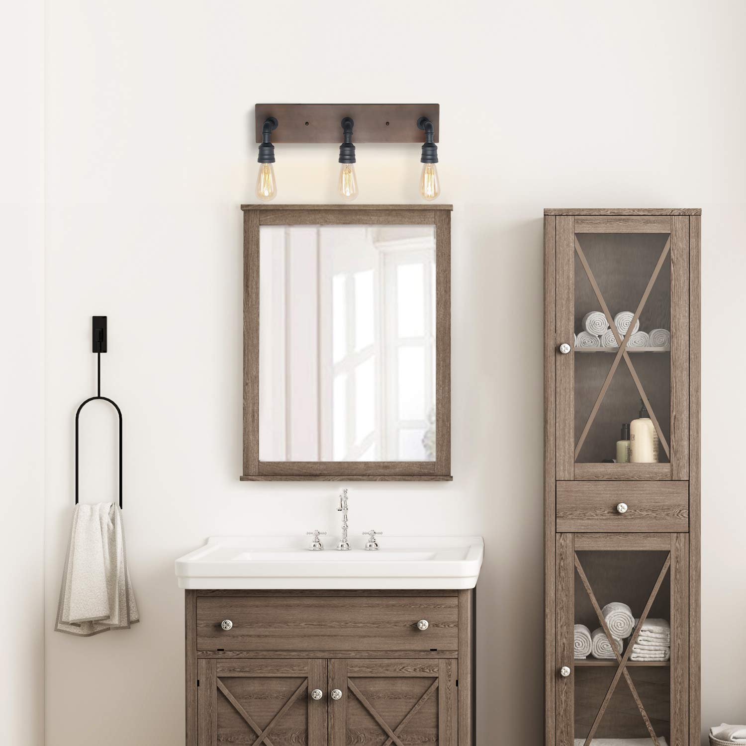 LNC Bathroom Vanity Lights, Farmhouse Wood and Water Pipe Wall Sconces(3 Heads )A03376, by LNC (Image #3)