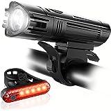 luz delantera de bicicleta,Juego de luces ultrabrillantes de bicicleta recargables USB, Luz bicicleta Delantera y Trasera, 4