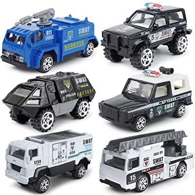 JQGT Diecast Police Cars Metal Playset Vehicle Models Collection Police Patrol Jeep Swat Truck Toy for Kids -- 6 PCS: Toys & Games