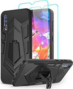Samsung A50 Case, Samsung Galaxy A50 Case with Screen Protector, LeYi Shockproof [ Military-Grade] Rugged Hybrid Heavy Duty Dual Layer Protective Cases Cover with Kickstand for Galaxy A50 Black