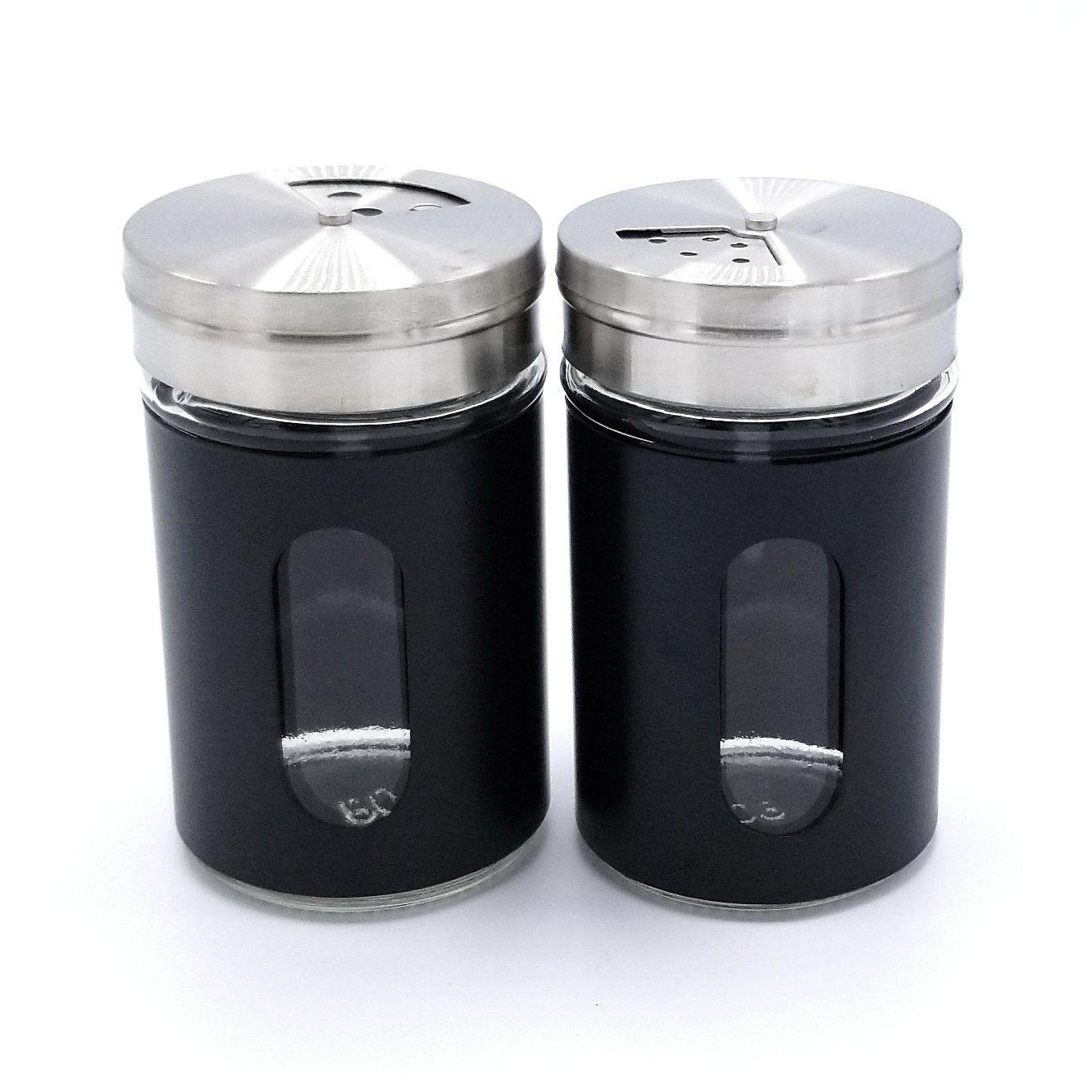 Black JVLM HOME Premium Glass Salt and Pepper Shakers Dispensers Set with Stainless Steel lids