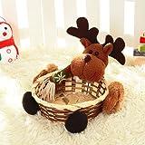 Covermason Christmas Candy Storage Xmas Decoration Ornament Santa/Snowman/Elk Basket Gift (Elk 01, 15*15CM)