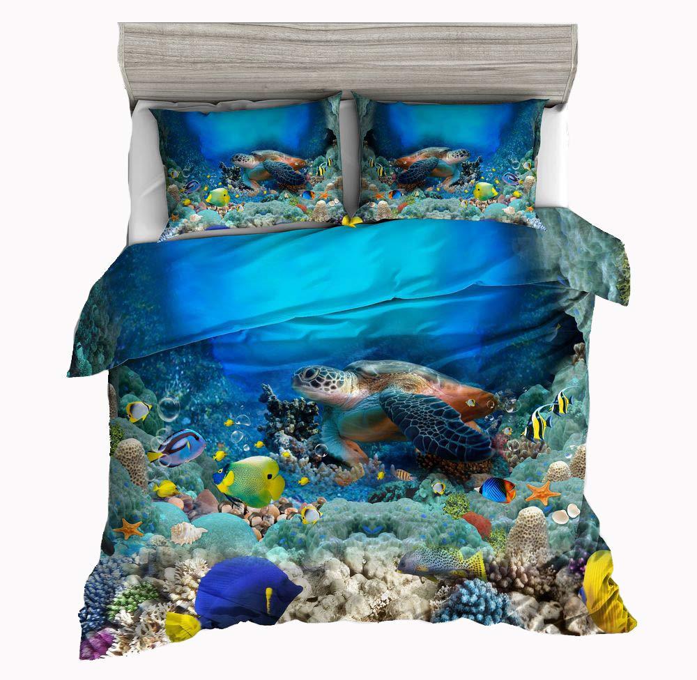 Jwellking 3D Turtle Bedding Sets Cover for Duvet Kids,3 Piece Twin Size Duvet Cover Set 1 Duvet Cover+2 Turtle Pillow Shams.No Comforter Inside