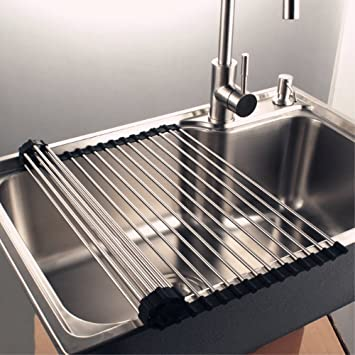 Kitchen Sink Drain Rack Amazon over the sink dish drying rack 17l x 185w over the sink dish drying rack 17l x 185w workwithnaturefo