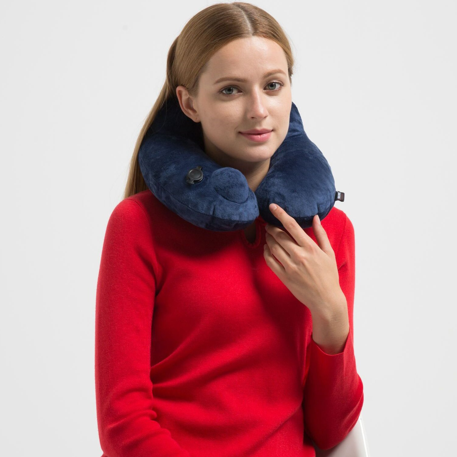 Metene Soft Velvet Inflatable Neck Support Travel Pillows for Airplanes with Portable Carrying Bag