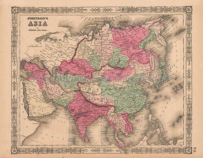 Authentic World Map.Asia Vintage Map Johnson 1864 Authentic Asian Decor Asian