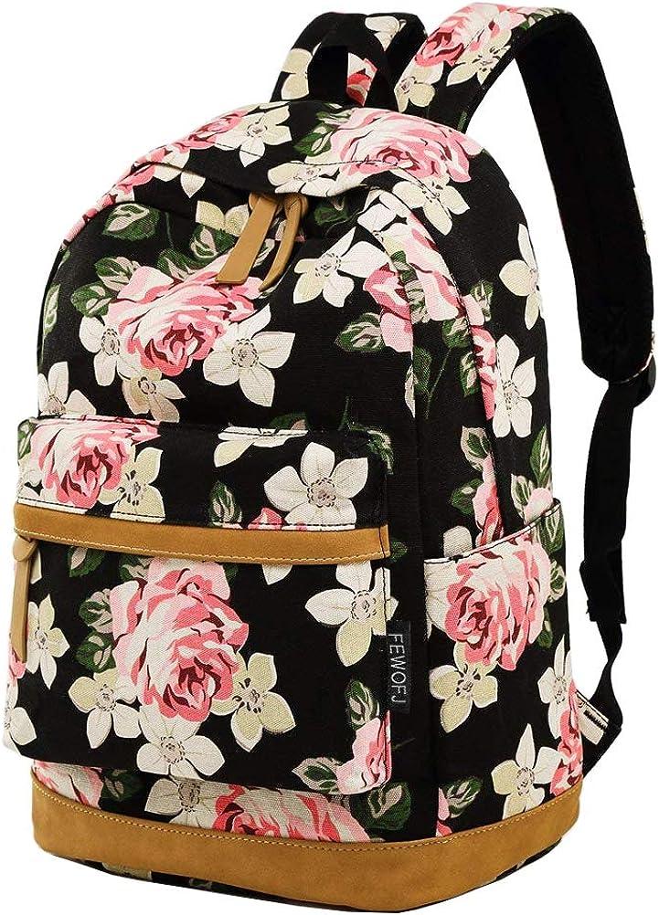 Girl College School Backpack, Women Vintage Work/Business/Travel Rucksack 14Inch Laptop Bag (Floral)