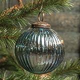 4 In Ribbed Blue Mercury Glass Kugel Ornament Set/6