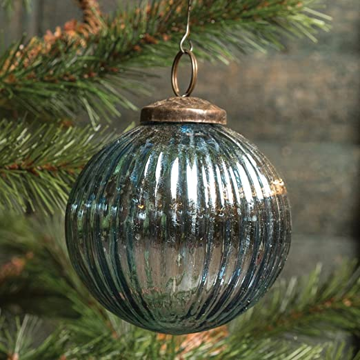 Christmas Tablescape Decor - Blue ribbed mercury glass kugel ball Christmas ornament - Set of 6