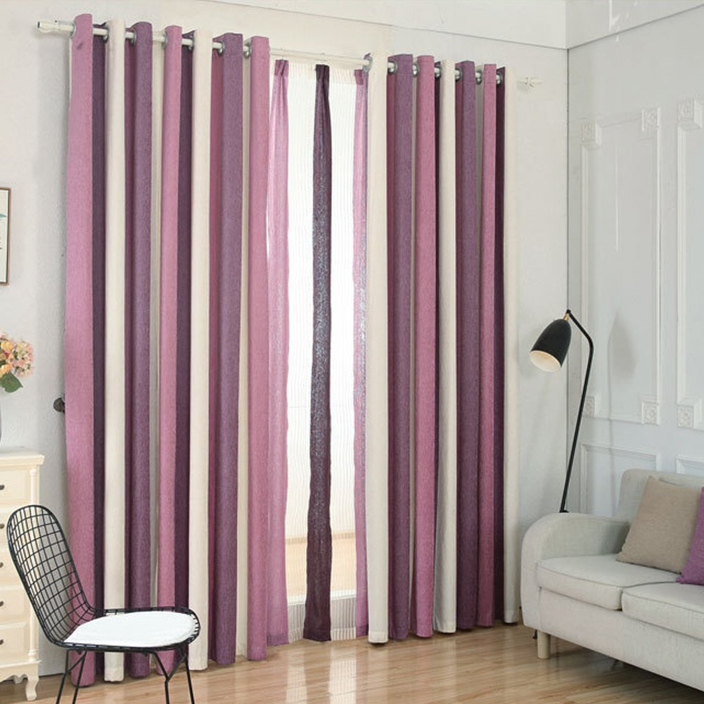 Uniuooi Multicolor Striped Curtain Eyelet, Translucent, Not include Window Screening, 100% Chenille, Ideal for Living Room Bedroom Children Room Balcony Kitchen (Coffee, 66 x 54 inch drop/167 x 137 cm)