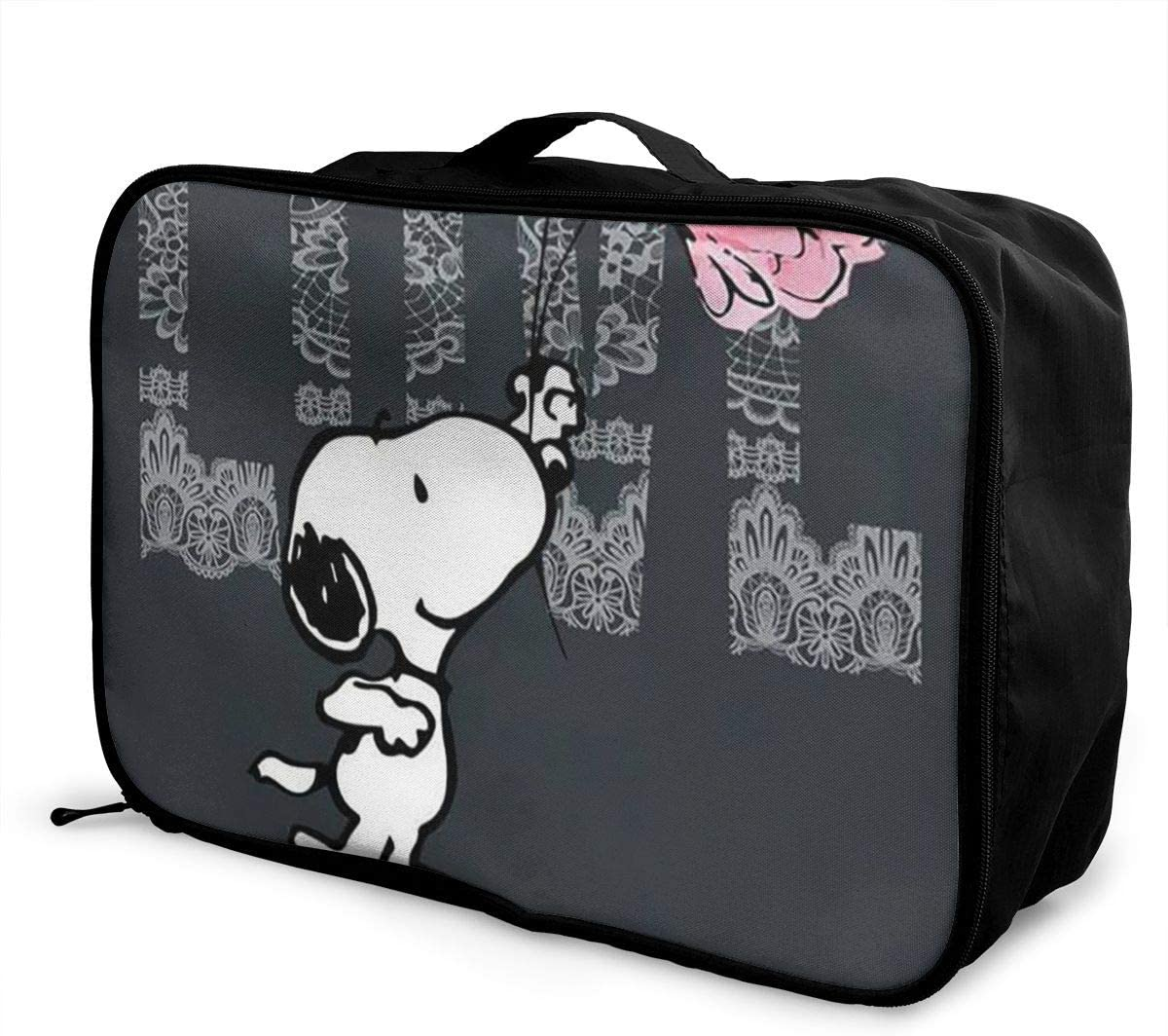 Black-and-white-flower Travel Duffel Bag Waterproof Fashion Lightweight Large Capacity Portable Luggage Bag