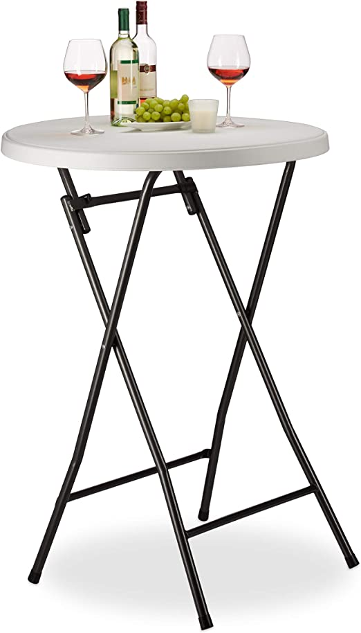 Relaxdays Table Haute Pliante Ronde, Table de Bistrot HLP ...