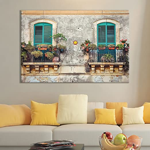 OLD STREETS OF ITALY VINTAGE BOX MOUNTED CANVAS PRINT WALL ART PICTURE PHOTO