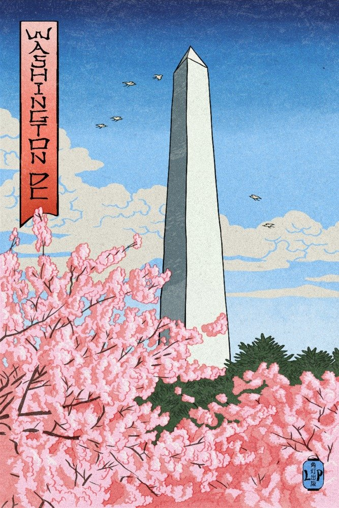 ワシントンDC – ワシントンモニュメント – Cherry Blossoms ( # 2 ) – Woodblock 12 x 18 Art Print LANT-73710-12x18 B01DZ1XO7G  12 x 18 Art Print