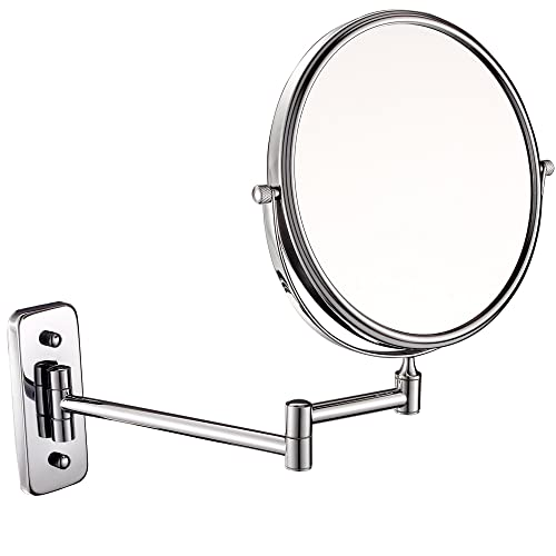 GURUN 8-inch Double-Sided Wall Mount Makeup Mirror with 10x Magnification,Chrome Finish M1407 8in,10x