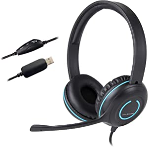 Cyber Acoustics USB Stereo Headset with Headphones and Noise Cancelling Microphone for PCs and Other USB Devices in The Office, Classroom or Home (AC-5008A)
