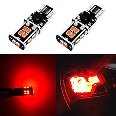 Alla Lighting Super Bright T15 912 921 LED Bulbs 3rd Brake Light Pure Red High Power LED 921 Bulbs 3020 SMD LED W16W 921 Center High-Mounted Stop Light Lamp Replacement (Set of 2): Automotive