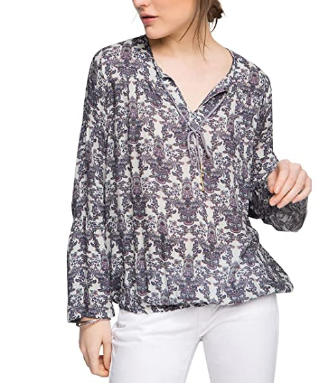 Floral - Blouse Femme, Multicolore (Dark Pink 2 651) - 38 (Taille Fabricant: 36)Esprit