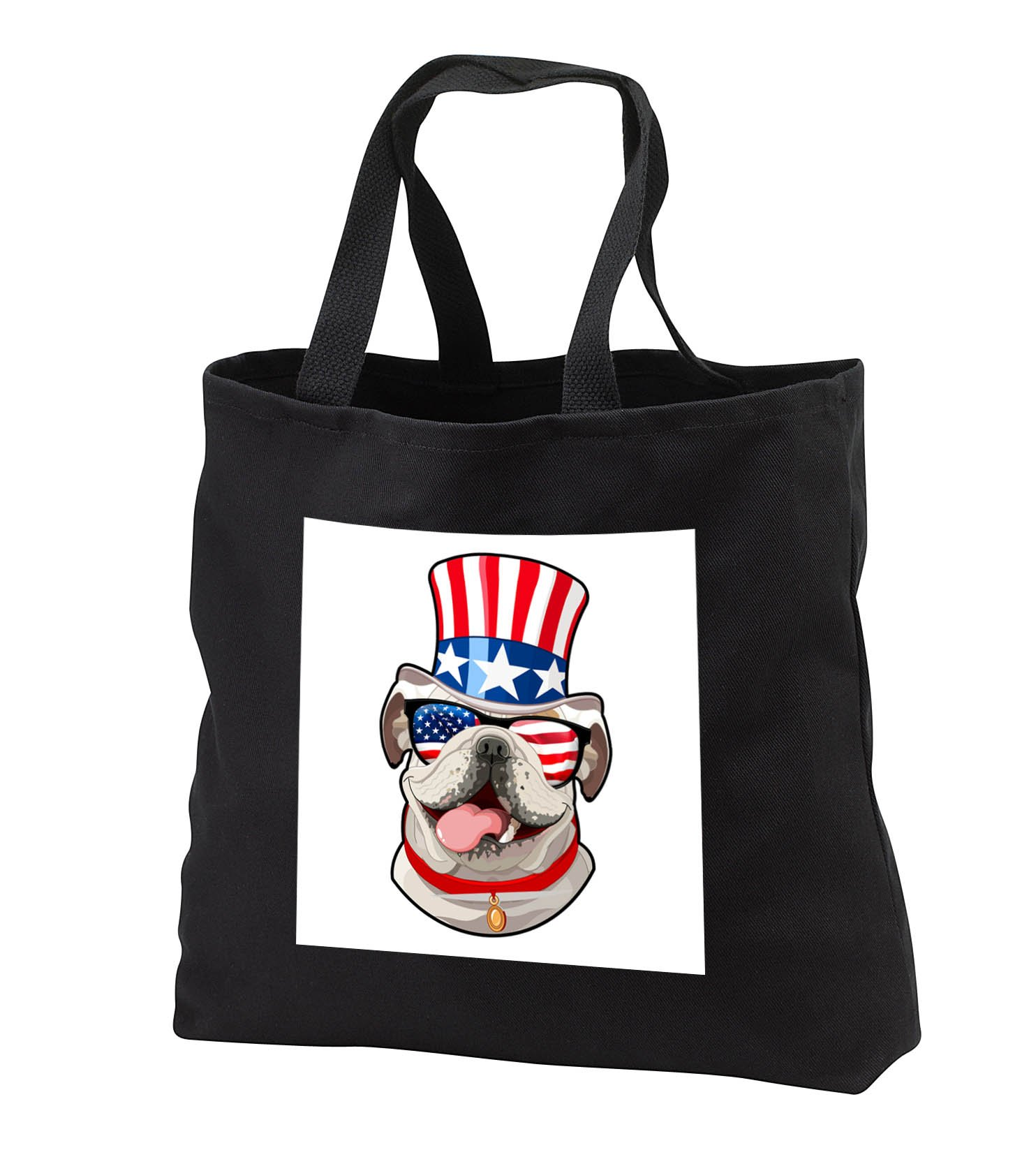 Patriotic American Dogs - English Bulldog Dog With American Flag Sunglasses and Top hat - Tote Bags - Black Tote Bag JUMBO 20w x 15h x 5d (tb_282713_3)