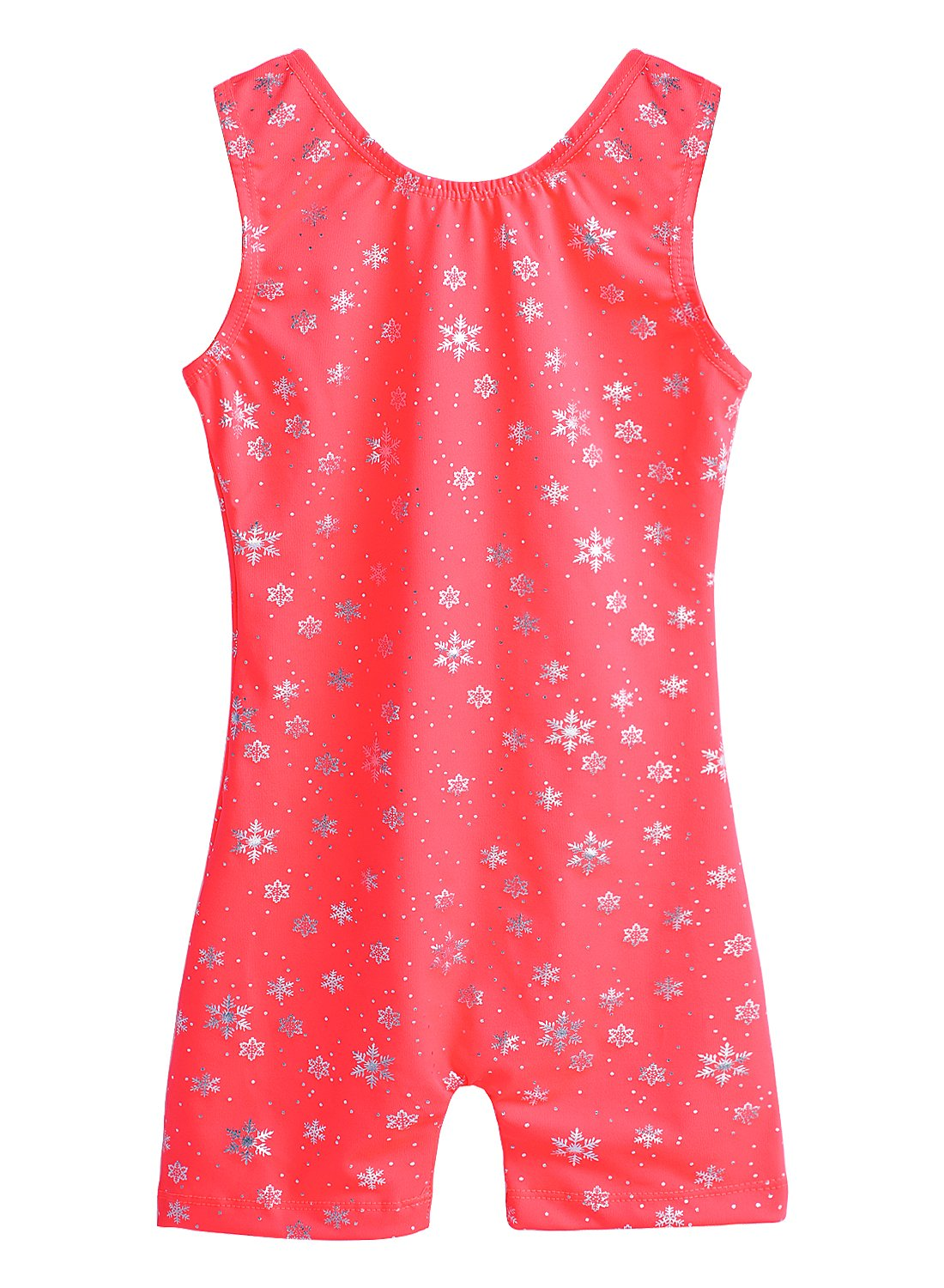 One-Piece Shiny Snowflake Orange Gymnastics Biketard for Little Girl DAXIANG