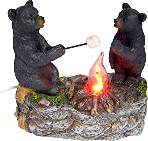 Black Bears Around a Campfire Table Top Night Light Lamp, 5 1/2 Inch