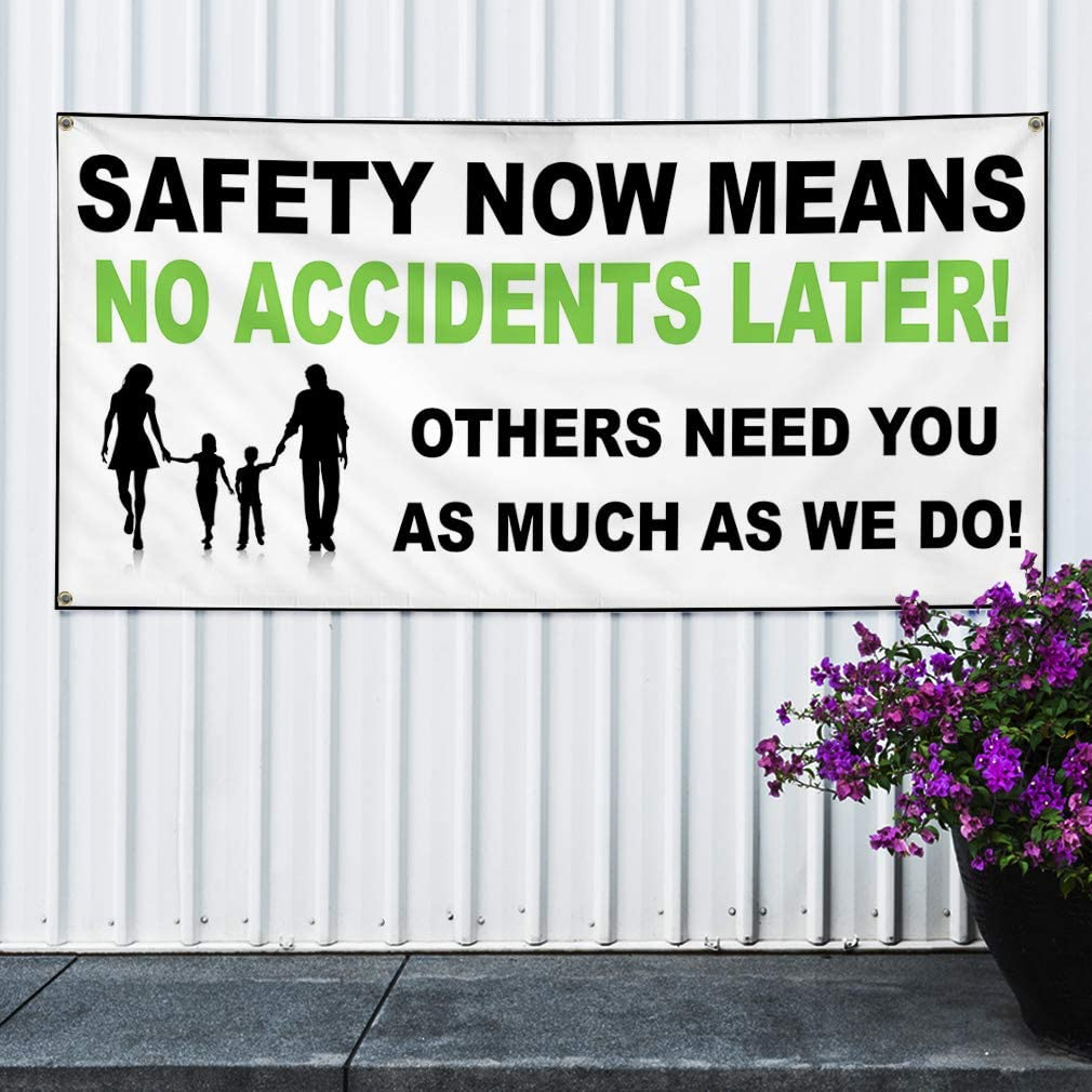 Set of 2 Multiple Sizes Available 4 Grommets 24inx60in Vinyl Banner Sign Safety Now Means NoAccidents White Outdoor Marketing Advertising White